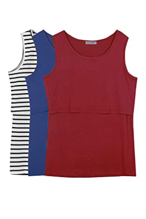 7c4f3a19ef3b9 Smallshow Women's 3 Pack Maternity Nursing Tank Tops Small Black  Stripe-Navy-Burgundy