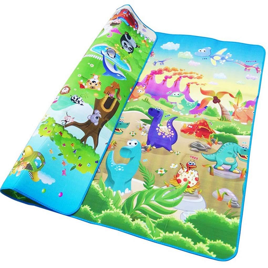 RXIN Baby Play Mat 200/180/0.5cm Crawling Mat Double Surface Baby Carpet Rug Animal Car+Dinosaur Developing Mat for Children Game Pad