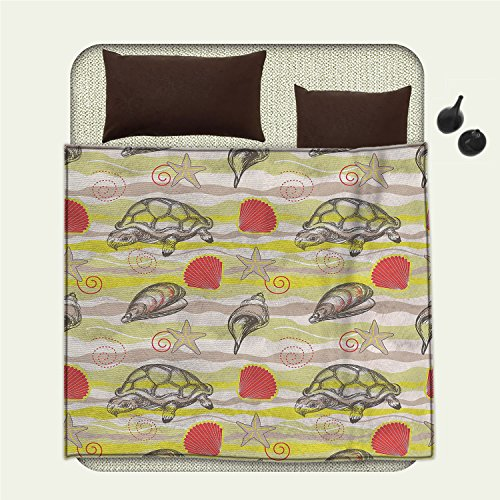 smallbeefly Sea Shells Printed blanket Abstract Wavy Background Stars and Vortex Designs Tortoise Clamsminion blanket Yellow Green Tan Vermilion Vortex Blanket