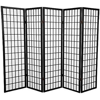 amazon com 5 panel room divider black kitchen dining rh amazon com 5 panel white room divider 5 panel white room divider