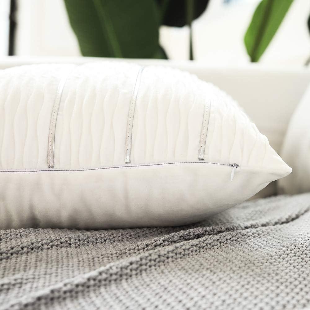2 Pack Velvet Pillow Cover Sham Cushion Decorative Jacquard Wave Cushion Cover