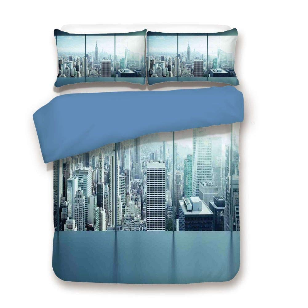 Duvet Cover Set Queen Size, Decorative 3 Piece Bedding Set with 2 Pillow Shams, Aerial View of A Big Crowded Modern City from The Office New York Buildings Urban Life Theme