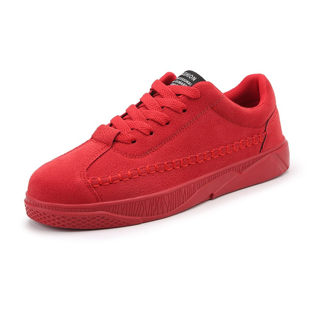 Men's Fresh Fashion Sneaker Flat Heel Lace UP Solid color Leisure Trend shoes (color   Red, Size   10 MUS)