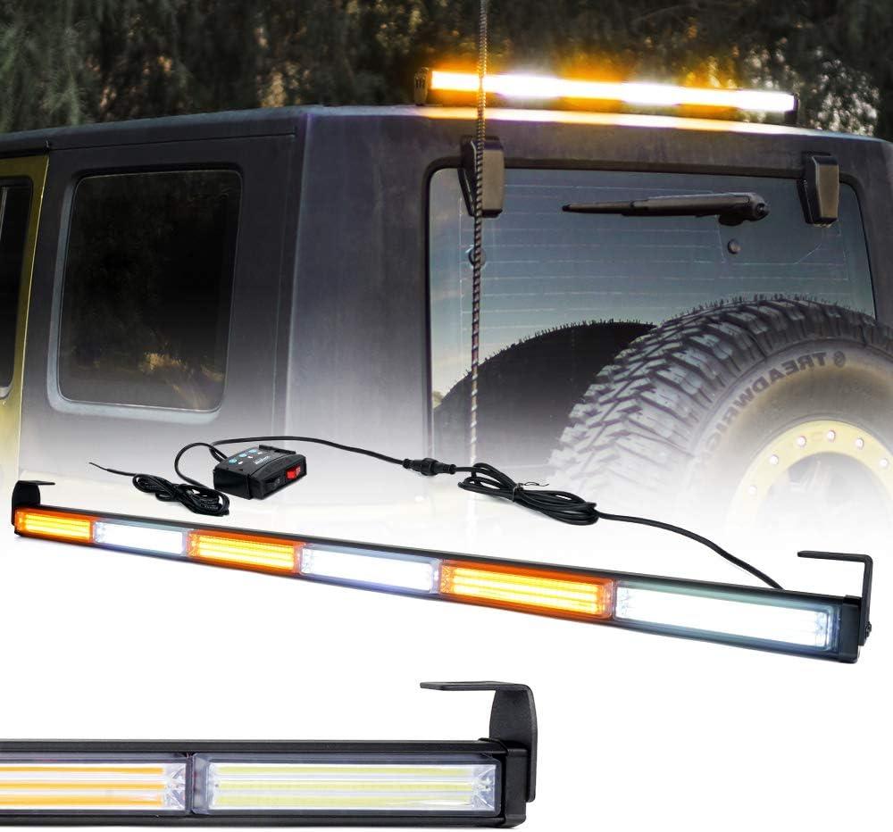 """Xprite 31/"""" Amber//White COB LED Strobe Lights Bar Traffic Advisor 12V Car Warning"""