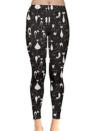 b6a23d2da00a CowCow Black White Cats on Black Pattern for Your Design Leggings