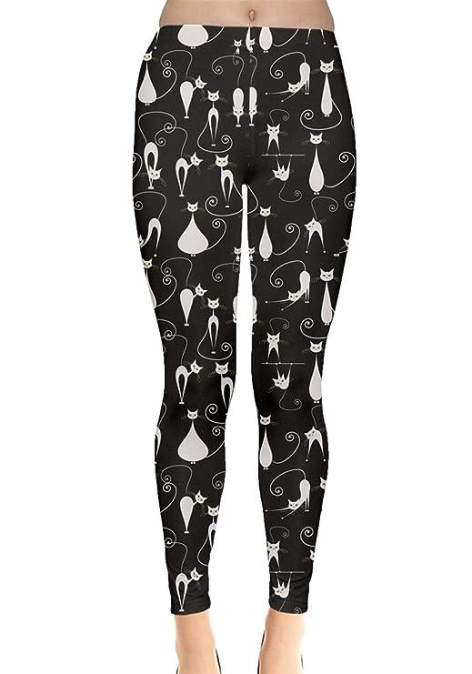 CowCow Black White Cats on Black Pattern for Your Design Leggings, Black-XS