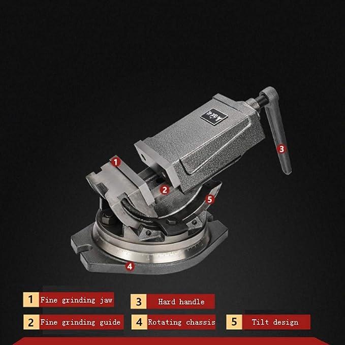 Verstellbarer 3-Wege Pr/äzisionsmaschinenschraubstock kippbar, seitlich verstellbar und drehbar mit 75 mm Backenbreite