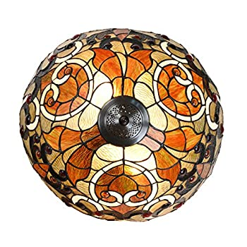 """Cloud Mountain Tiffany Style 18.5"""" Lampshade Swirling Shells Table Lamp Baroque Stained Glass Desk Lamp Home Decor Lighting"""