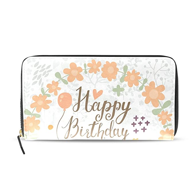 Lorvies Fox Happy Birthday Pu Leather Large Capacity Wallet Card