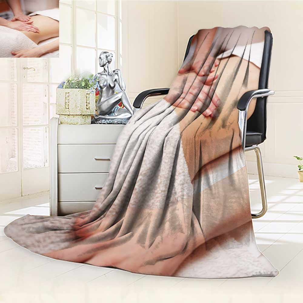 Luxury Collection Ultra Soft Plush Fleece Lightweight a woman receiving a belly massage at spa salon All-Season Throw/Bed Blanket(90''x 70'')