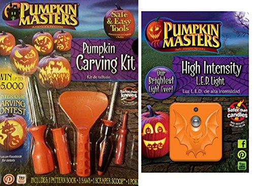 Pumpkin Masters Pumpkin Carving Kit & Adjustable High Intensity LED Light (Spooky Halloween Pumpkin Carving Patterns)