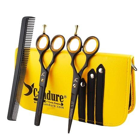 CANDURE® - tijeras de peluquería profesional, tijeras de peluquero, tijeras de corte peluqueria, Tijeras De Peluquería Peluquero Del Salón, set de ...