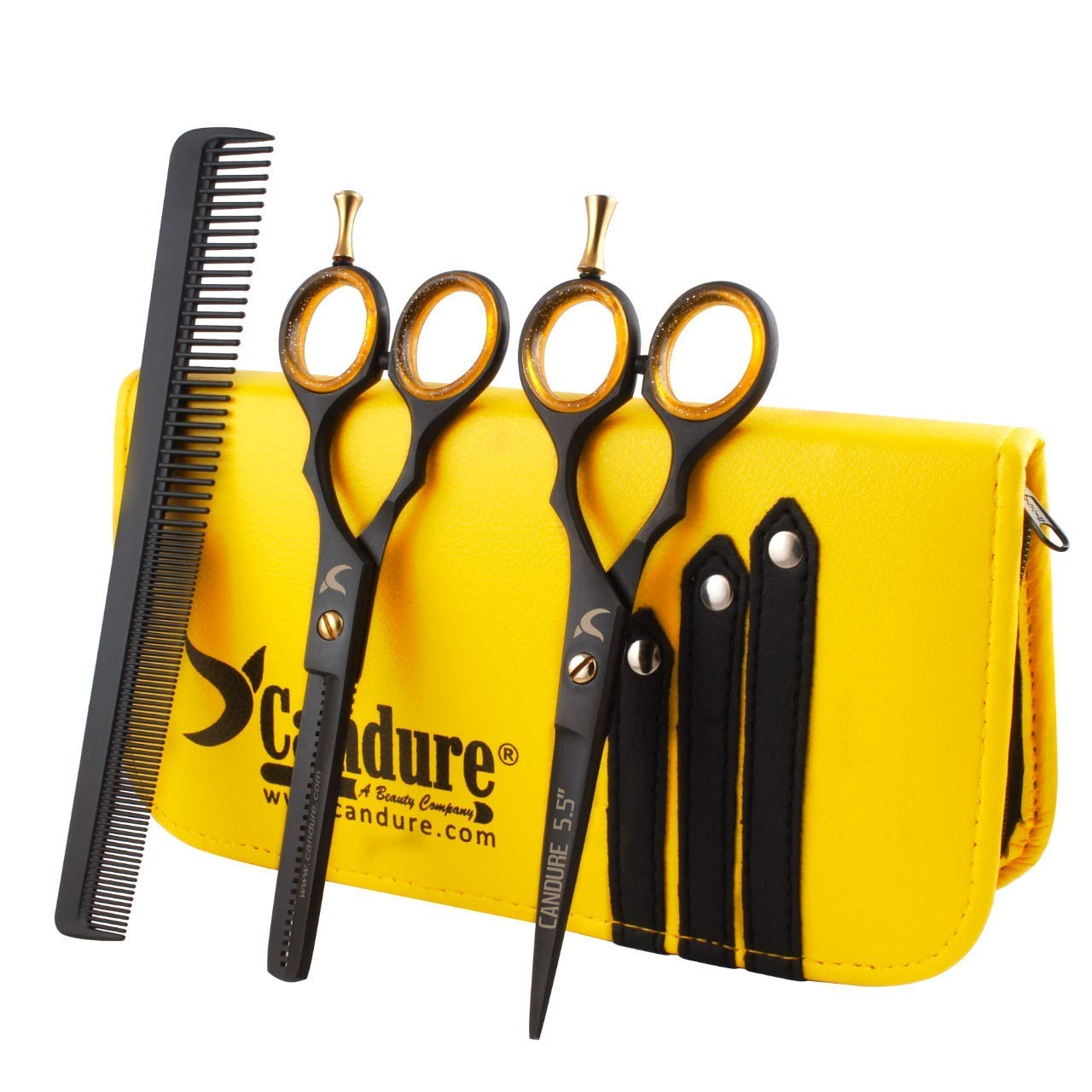 Ciseaux salon de coiffure barbier avec vis dorée plus étui/manche pour ciseaux product image