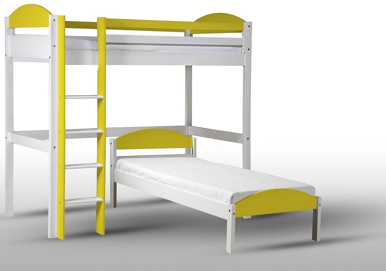 Design Vicenza Maximus L Form Hochbett, Holz, Weiß mit Lime Details, Single