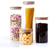 FireKirin Glass Food Storage Jars Containers with Airtight Bamboo Lids Set of 4 Glass Kitchen Canister Set For spaghetti…