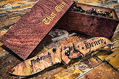 Personalized Camo Knife + Engraved Wooden Gift Box Custom Boxes & Pocket Knives Groomsmen Set Camouflage Groomsman Husband Wood Hunting Man Mens Boyfriend Wedding Gifts Folding Rustic Spring Assist