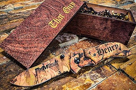 Personalized Camo Knife + Engraved Wooden Gift Box Custom Boxes & Pocket Knives Groomsmen Set Camouflage Groomsman Husband Wood Hunting Man Mens Boyfriend Wedding Gifts Folding Rustic Spring - Black Label Duffel