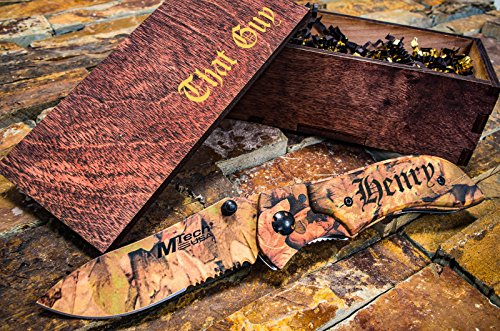 Personalized Camo Knife + Engraved Wooden Gift Box Custom Boxes & Pocket Knives Groomsmen Set Camouflage Groomsman Husband Wood Hunting Man Mens Boyfriend Wedding Gifts Folding Rustic Spring - Rocks Bay Glass Green Packers