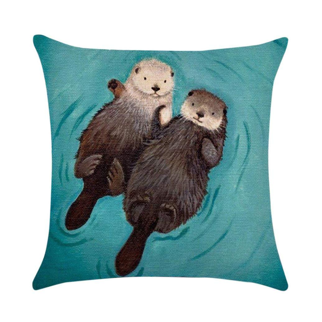 MaxFox Halloween Cute Animal Otter Throw Pillow Cover 18 x 18 Inch Linen Blend Pillow Cover for Office Sofa Bedroom Car Decor