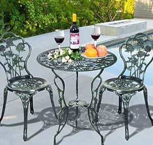 SKB Family Cast Aluminum Bistro Rose Furniture Set Green