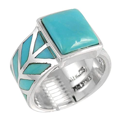 Turquoise Ring in Sterling Silver 925 Genuine Turquoise Size 6 to 11