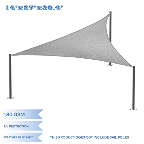 E K Sunrise 14 x 27 x 30 Light Gray Sun Shade Sail Right Triangle UV Block Durable Awning Perfect for Canopy Outdoor Garden Backyard-Customized