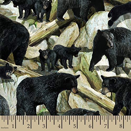 Wild Wings 67514-110331 Essence Scenic Bears Yard Fabric, Black