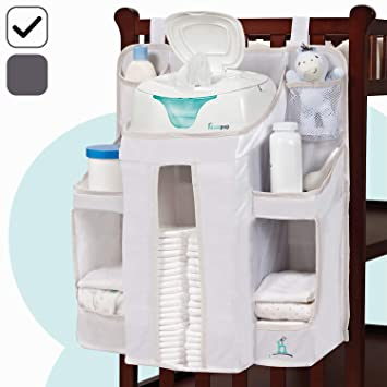 Changing Table or Wall hiccapop Nursery Organizer and Baby Diaper Caddy Hang on Crib Hanging Diaper Organization Storage for Baby Essentials
