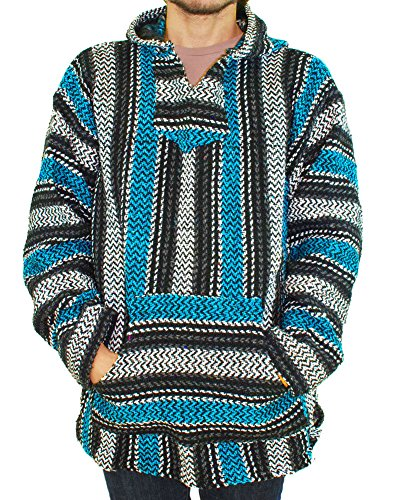 Baja Hoodie~ Original Mexican Deluxe Baja~ Huge Selection of Colors & Sizes!! (Small, Turquoise)