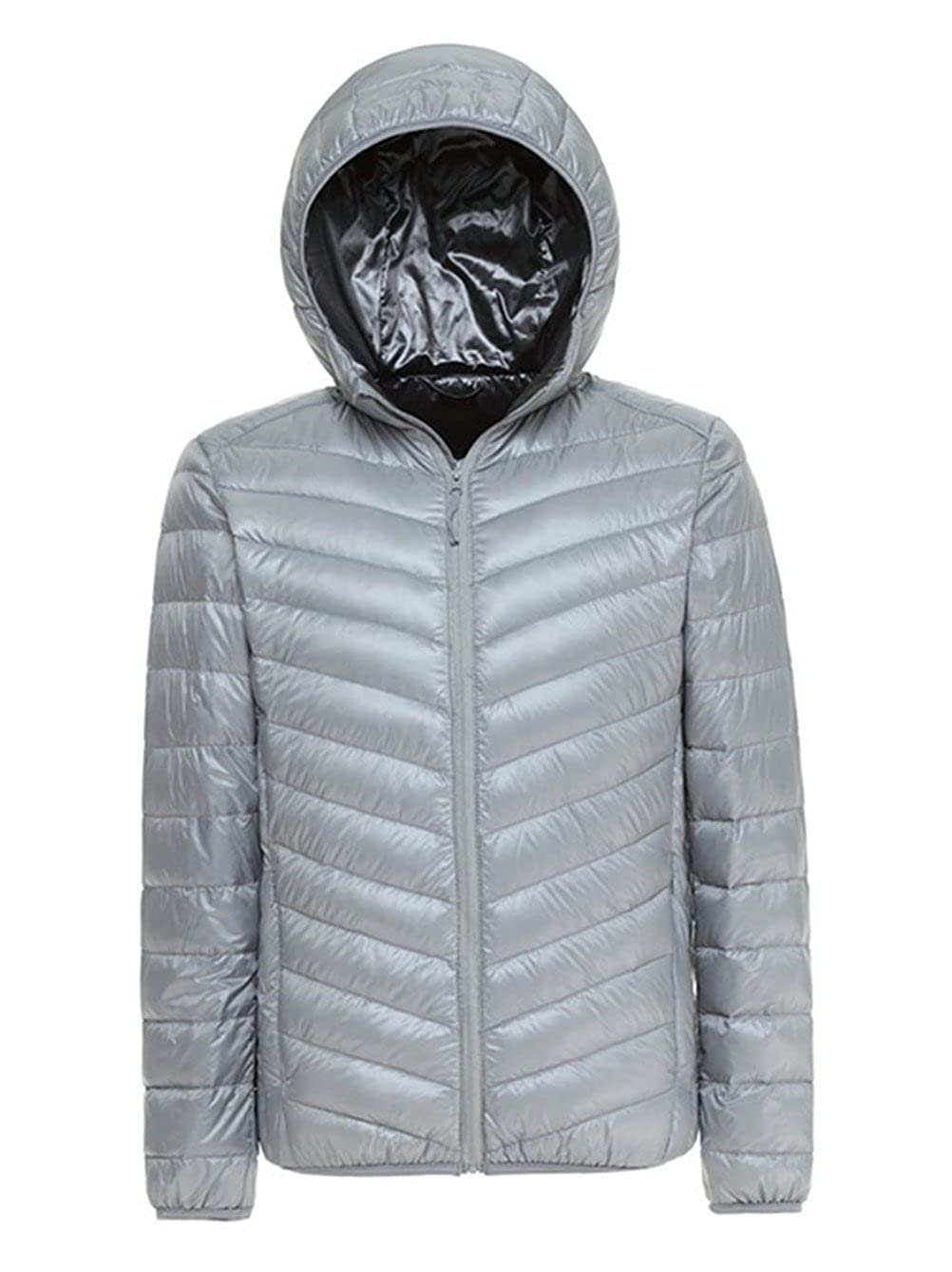 Lanmay Men's Ultralight Packable Hooded Down Jacket Puffer Down Coats