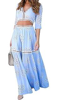 bdfedf56e0 Bigyonger Women's Lace Trim Half Sleeve Floral Print Top Skirt Set 2PCS Maxi  Dress