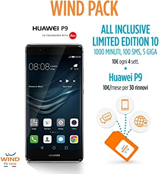 Wind Pack – Anticipo Huawei P9 Smartphone, 32 GB, Gris + SIM Wind Recargable con Oferta All Inclusive Limited Edition 10: Amazon.es: Electrónica