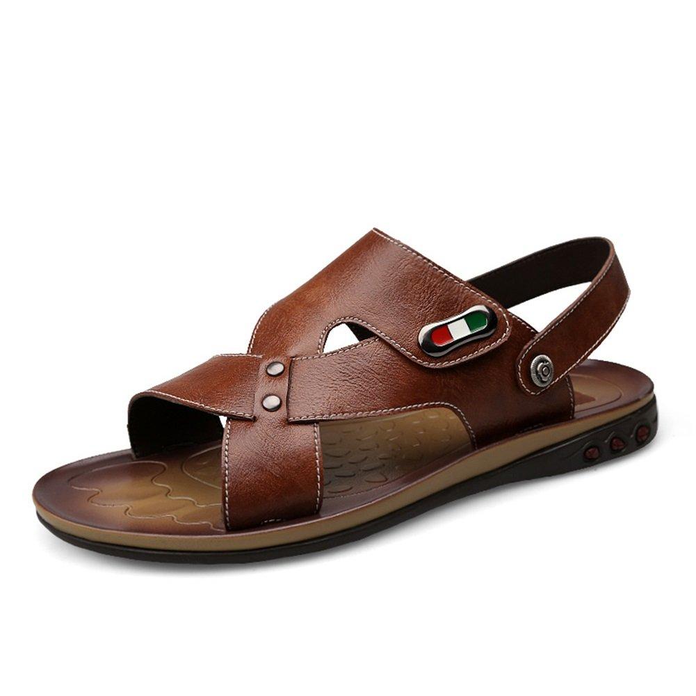 HUAN Sandalias de Cuero Suave Para Hombre Zapatillas de Playa Transpirables Al Aire Libre Verano Marrón, Azul 43 EU|Brown