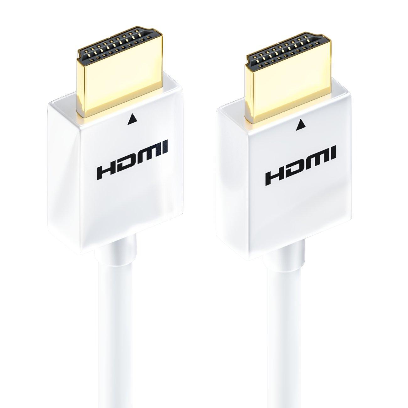 nuevo est/ándar deleyCON Cable HDMI 3m delgado muy r/ápido Ethernet 3D 4K UHD SUPER flexible Blanco