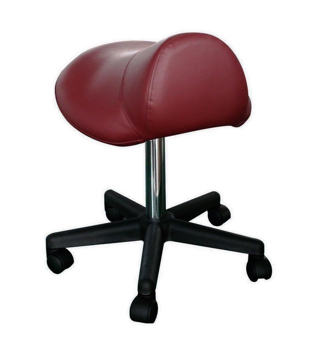 Sivan Health and Fitness SAS08-BUR Pneumatic Rolling Saddle Massage Stool, Hydraulic Adjustable, Burgundy