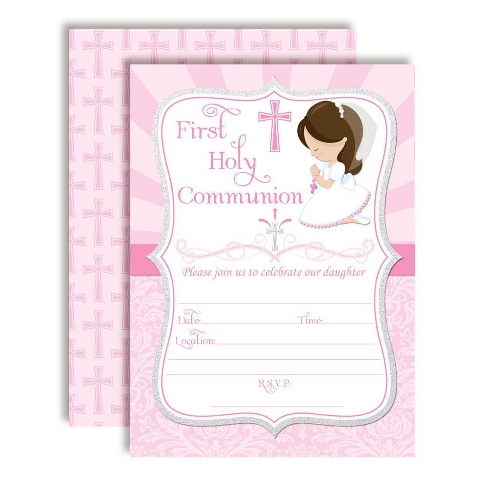 First Holy Communion Religious Party Invitations for Girls, 20 5''x7'' Fill in Cards with Twenty White Envelopes by AmandaCreation