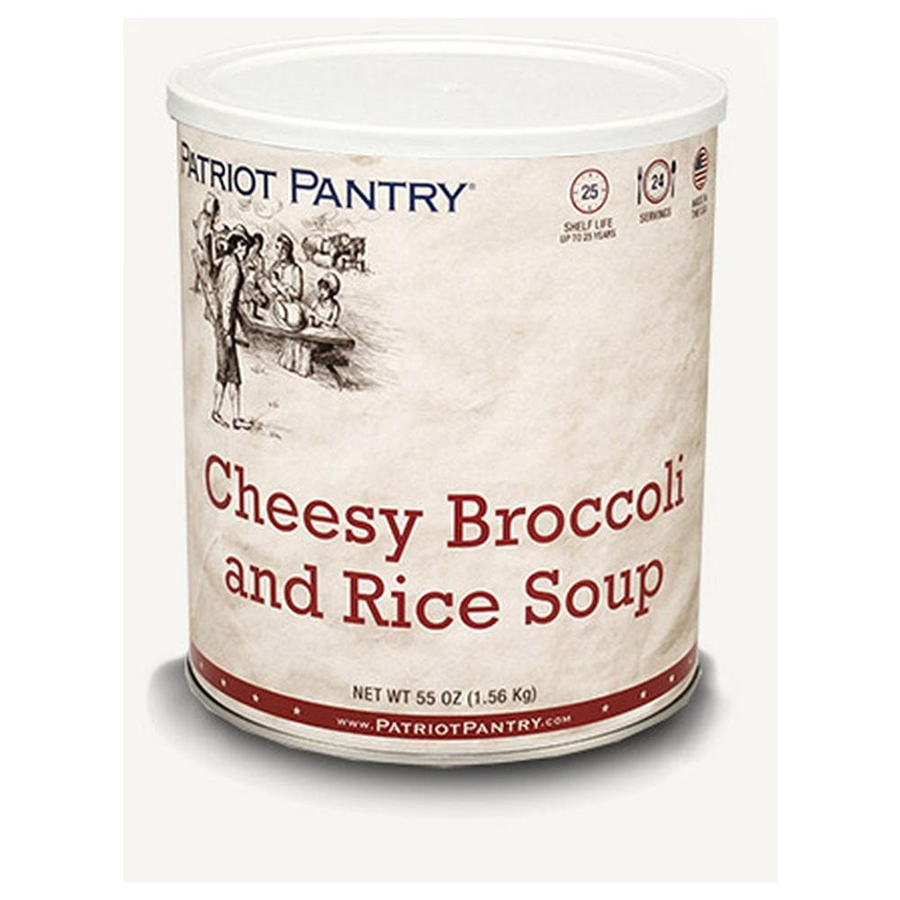 Patriot Pantry Cheesy Broccoli & Rice Soup (24 servings) #10 Can Bulk Emergency Storage Food Supply, Up to 25-Year Shelf Life