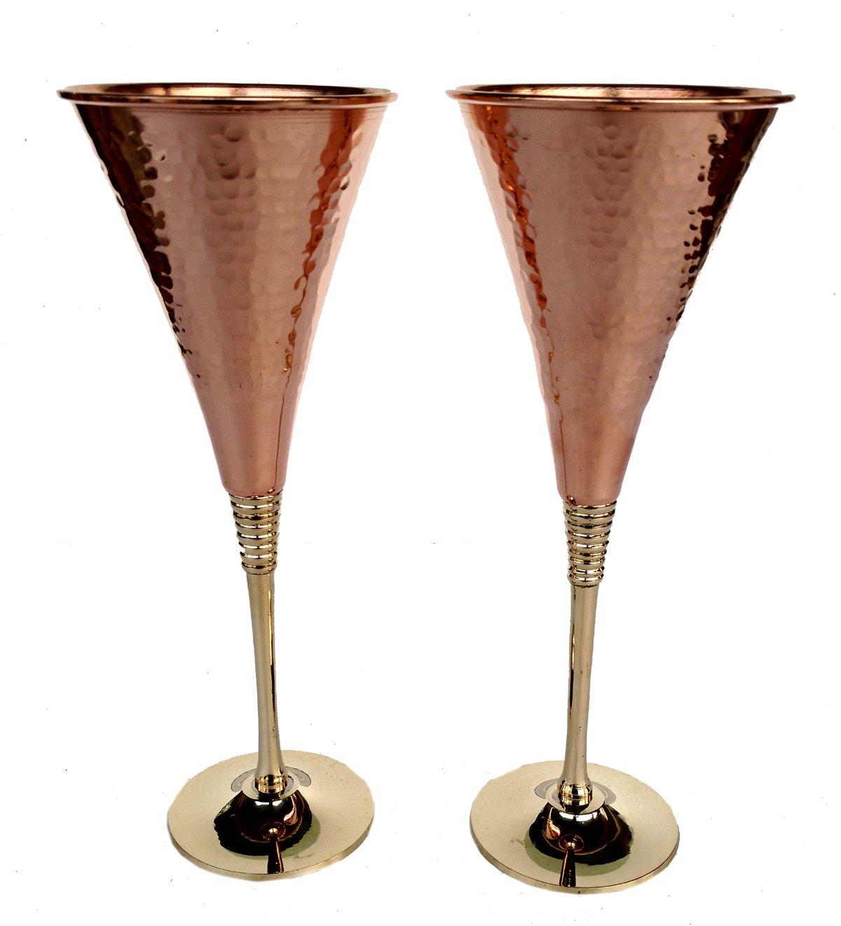 Rastogi Handicrafts Pure Copper Wine Glass Tableware Bar Hotel Restaurant Serving Wine Whisky Cocktail Goblet Set of (2)