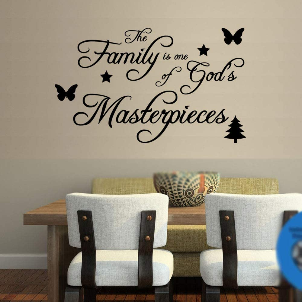Black Vinyl Decal Decorations Wall Stickers Wall Decor Stickers The Family is Gods Greatest Masterpiece