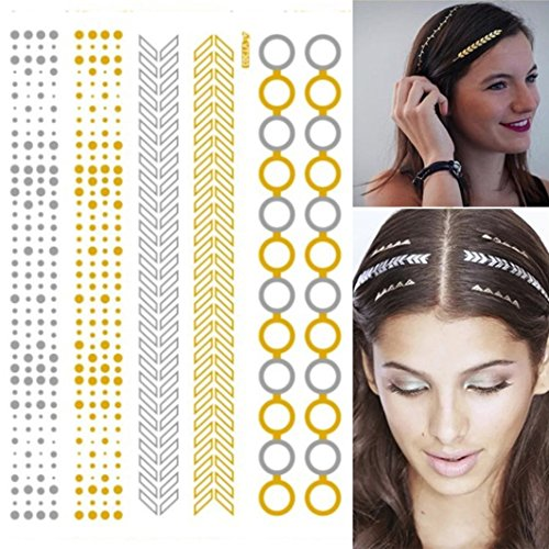 Fabal Metallic Hair Temporary Tattoos Gold Silver, Feathers Tribal Foil Shimmer (A) (Tattoo Shimmer)