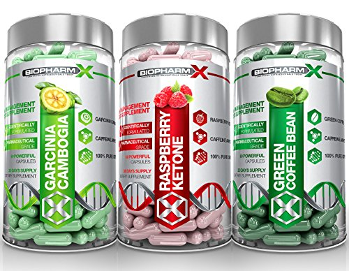 Garcinia Cambogia + Raspberry Ketones + Green Coffee Bean Extract (3 Bottle Multi-Saver Pack) by BioPharm-X