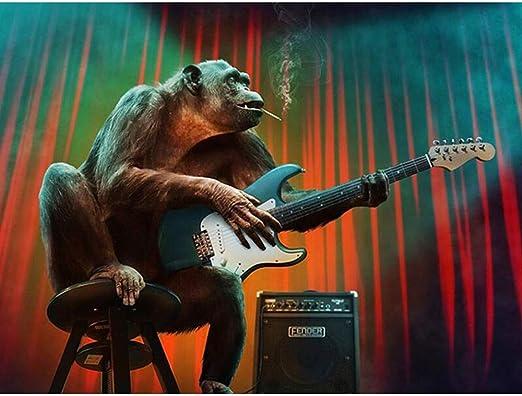 5D Diy Diamante Pintura Orangután Tocando La Guitarra Ronda ...