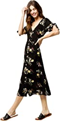 a35ccf70f8 SKY AND SPARROW Vine Tie Sleeve Button Front Maxi Dress, Black Combo, Large