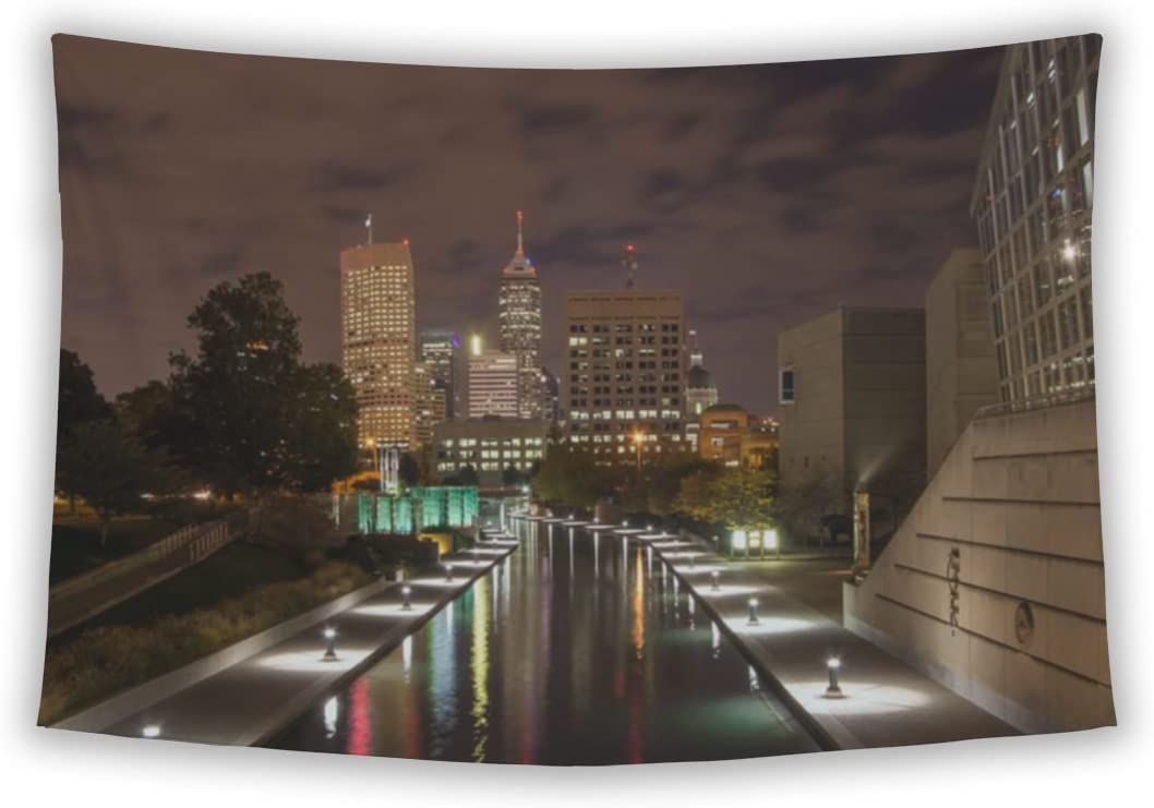 Gear New Wall Tapestry for Bedroom Hanging Art Decor College Dorm Bohemian, Picture Shows Skyline of Indianapolis at Night, 104×88