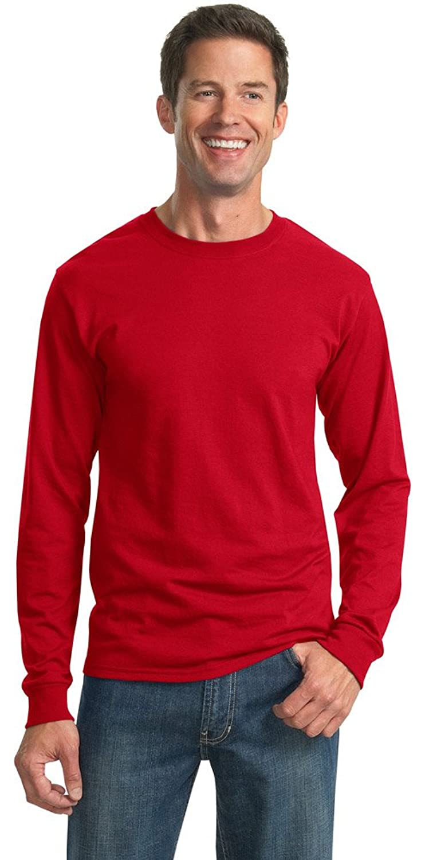 JERZEES Mens Heavy Blend Cotton/Poly Long Sleeve T-Shirt, XL, True Red