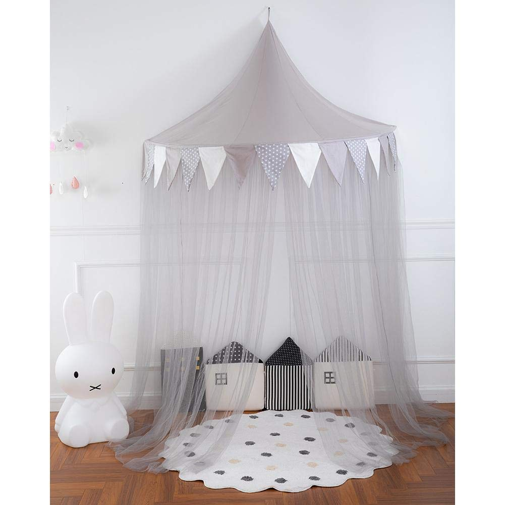 Assiduousic Children's Bed Tent Soft Breathable Healthy Non-Toxic Detachable Reading Corner Layout Half Moon Game House Bed Canopy for Girls Boys Playing