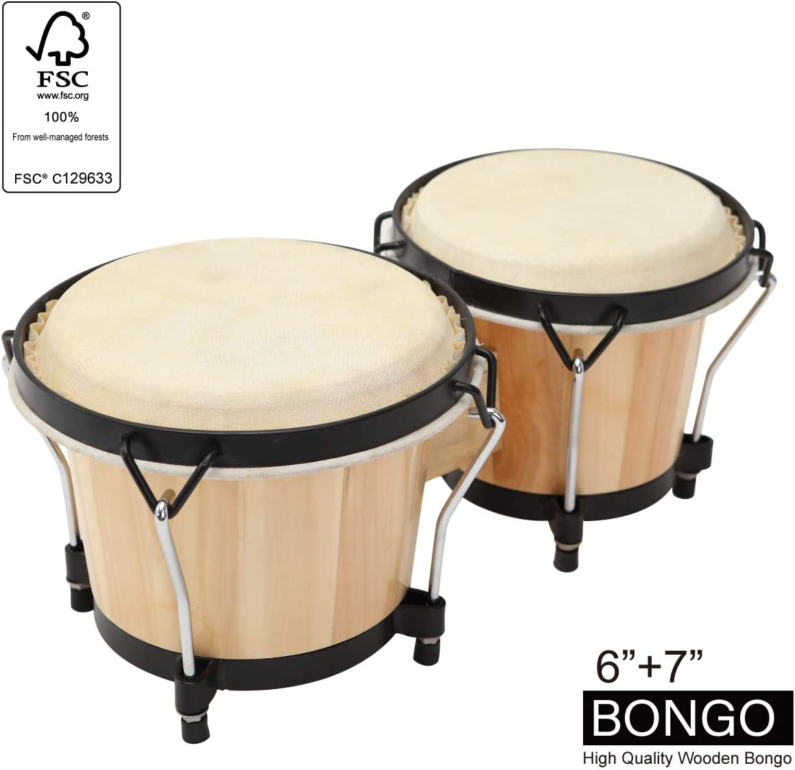MUSICUBE Bongo Drum Set for Kids Adults Beginners Professionals with Tuning Wrench
