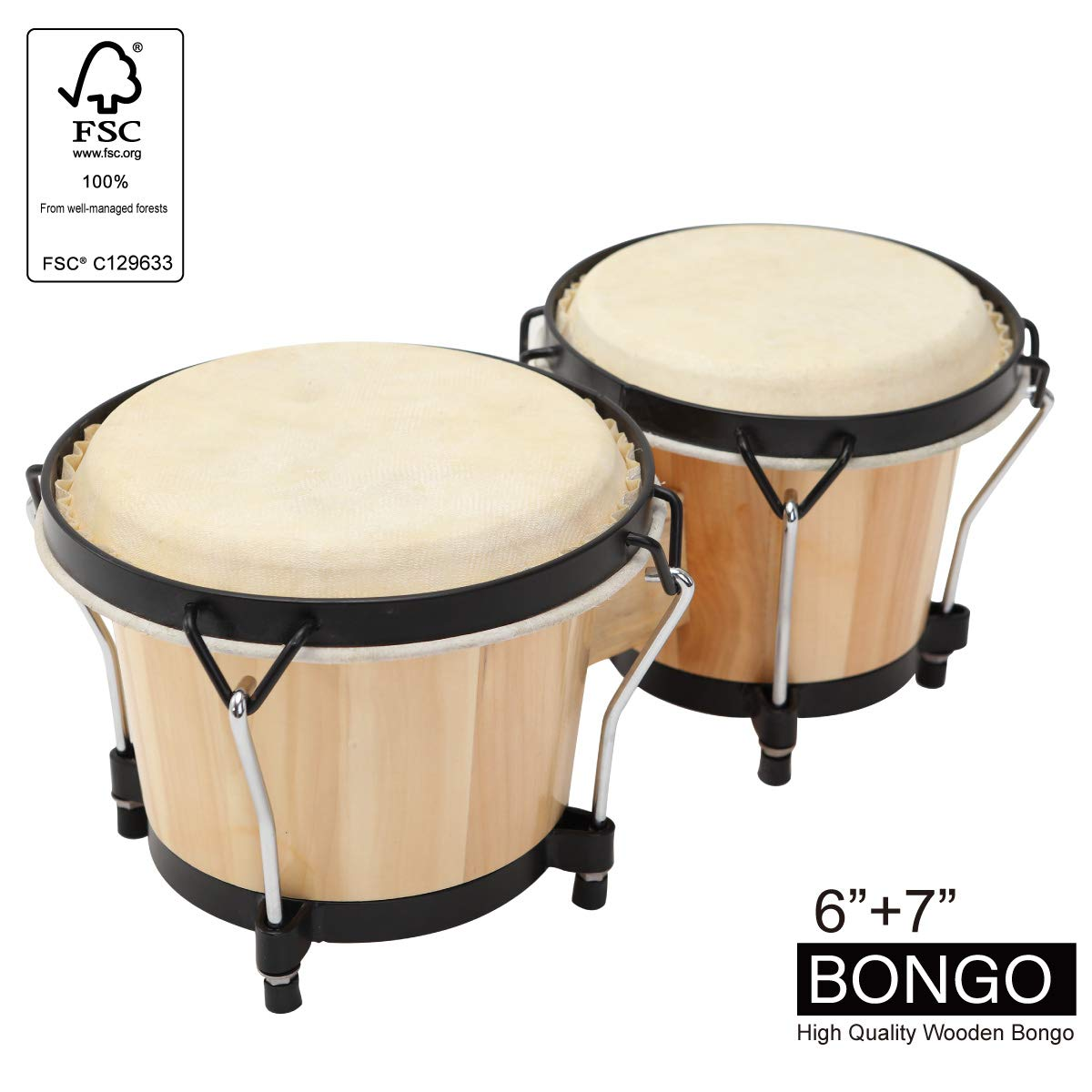 MUSICUBE Bongo Drum Set, 2 Sets 6'' and 7'' Percussion Instrument, FSC Wood and Metal Drum for Kids Adults Beginners Professionals with Tuning Wrench by MUSICUBE