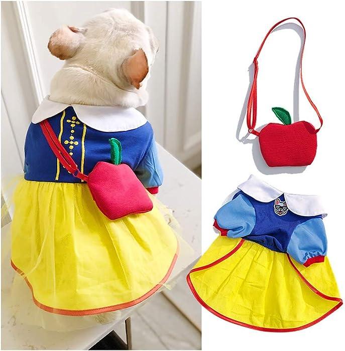 Coppthinktu Snow White Dog Costume Halloween Christmas Princess Puppy Dress Dog Halloween Costumes Snow White Pet Apparel for Halloween Birthday Party