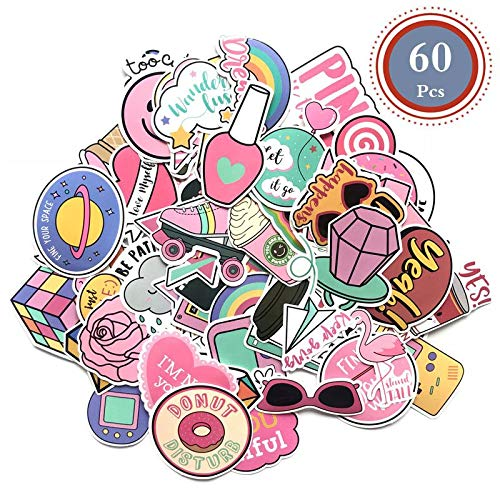 - Cute Computer Laptop Sticker, Vinyl Waterproof Girl Stickers for Water Bottle Car Skateboard Luggage Guitar Bike Phone Cases Decal 60Pcs Pack